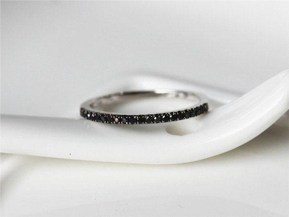 0.25ct Black Diamond Ring 14k White Yellow Rose Gold Wedding Band/ Engagement Ring/ Matching Band/Half Eternity Band/Thin Desig by ByLaris on Etsy