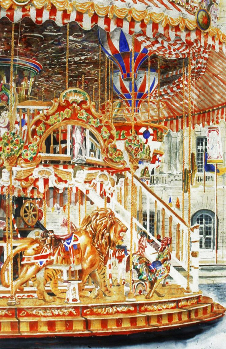 "lion 2 carousel arles 40"" x 26""  micheal zarowsky / watercolour on arches paper / (private collection)"