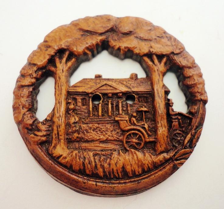 ButtonArtMuseum.com - Vintage Large Burwood Button Cottage Cabin Scene Pierced