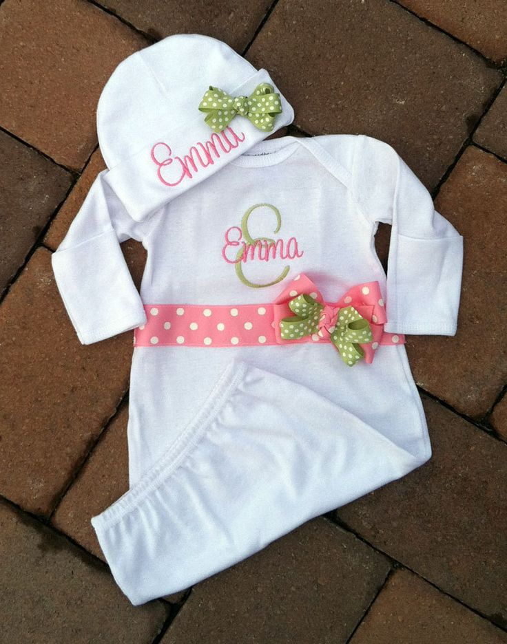 Personalized Baby Gown and Cap Hat Set Boy Girl by threadbands