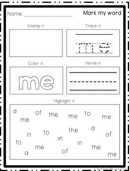 Mark My Word: Word Work 30 pages of print and go worksheets