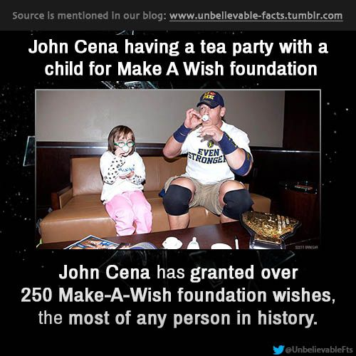 John Cena has granted over 250 Make-A-Wish foundation wishes, the most of any person in history.  follow us to get more facts: http://unbelievable-facts.tumblr.com/
