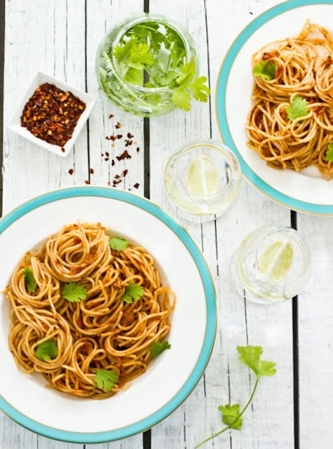 spaghetti in a spicy tomato sauce more food style tomato sauce sauces ...