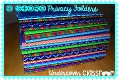 Do It Yourself Privacy Folders- make these privacy folders from display boards found at the dollar store. Click here for the photo tutorial.
