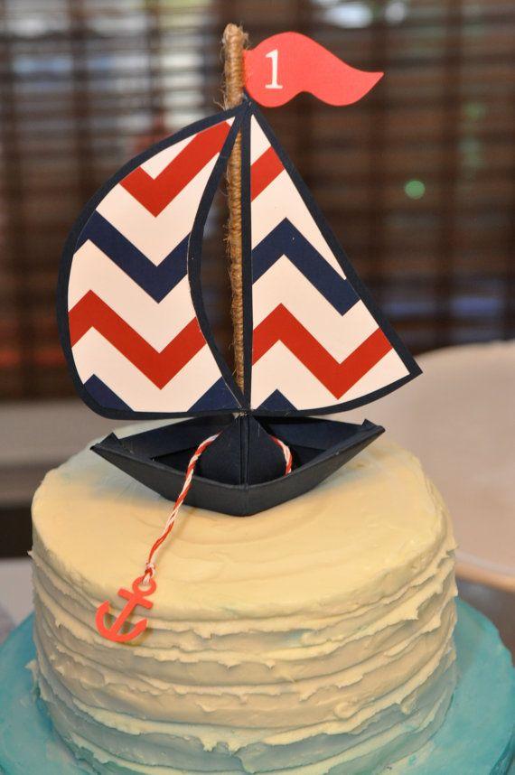 Nautical Sailboat Anchor Navy Blue Red Chevron by flourishnfrills, $12.00