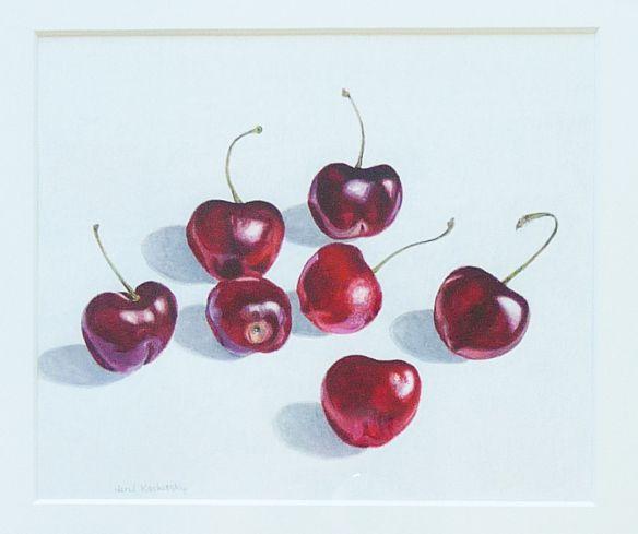 Herzl Kashetsky, Cherries, watercolour & pencil, 7%22 x 8%22