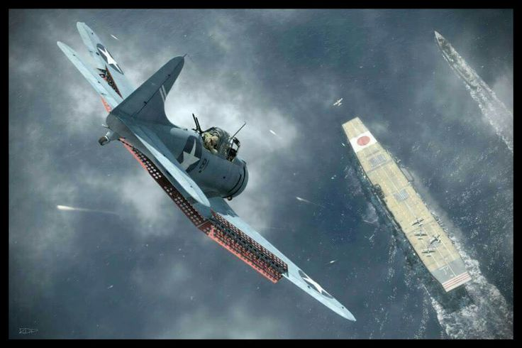 SBD Dauntless Dive bomber Attacking IJN Carrier Wallpapers Pacific