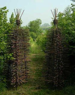 willow garden structures - lattice supports for tall plants and climbers