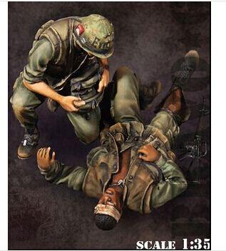 1/35 масштаб вьетнамская война сша инвалидов и санитар рисунок смола модель для сборки бесплатная доставка