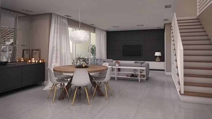 Cucina soggiorno open space, tavolo da pranzo in legno con ...