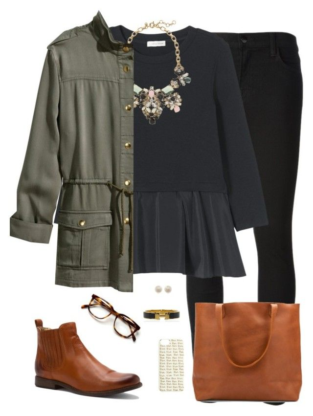 """""""army green & brown"""" by tex-prep ❤ liked on Polyvore featuring moda, J Brand, Rebecca Taylor, J.Crew, Frye, H&M, Links of London y Hermès"""