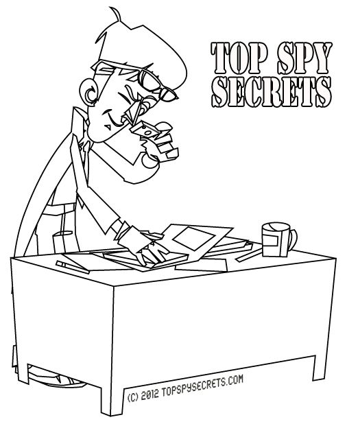 Mister E making copies of secret papers found at