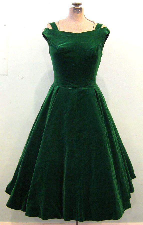 1950s Emerald Green Velveteen Evening Dress