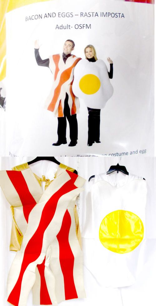 Halloween Costumes Couples: Rasta Imposta Couples Bacon And Eggs Costume Adult Osfm Nip BUY IT NOW ONLY: $21.48
