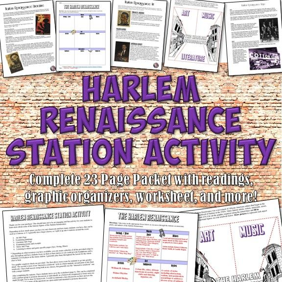 This fun and engaging activity for the Harlem Renaissance features 23 pages on major authors, artists, and musicians along with graphic organizers, samples, and more!