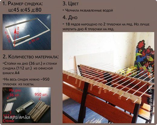 """MK """"Сундук с канатом"""" из газетных трубочек фото 2"""