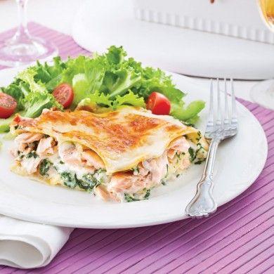 Lasagne au saumon et épinards - Pour recevoir - Recettes 5-15 - Recettes express 5/15 - Pratico Pratique