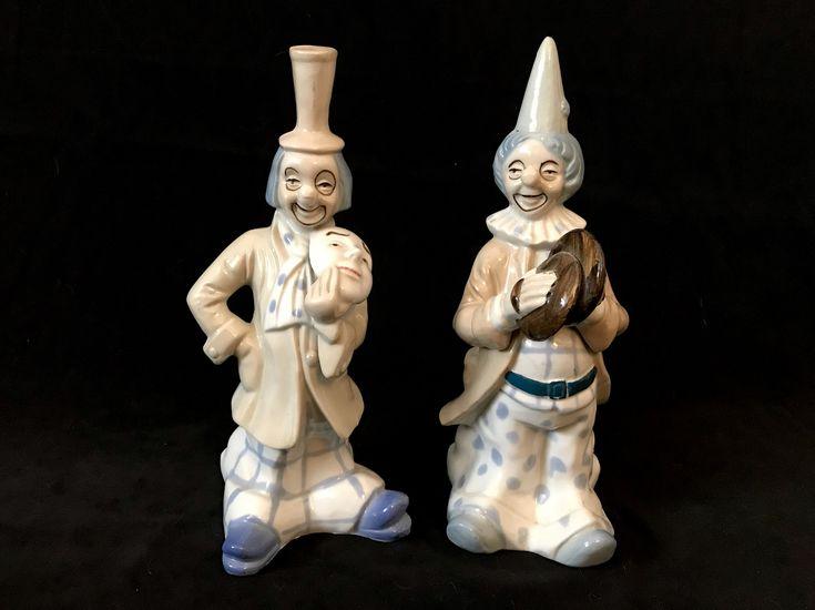 <b>Vintage</b> Lladro <b>Style Porcelain</b>/<b>Ceramic</b> Clown Figurines With ...