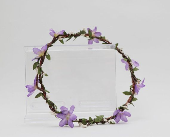 Flower Crown  Purple orchids white pip by AliceThorWeddings