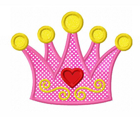 Instant Download Princess Crown Applique Machine Embroidery Design NO:1351