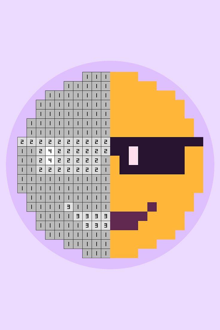 Pixelgram: Pixel Art Game. Cool Face Emoji Pixel Art. # ...