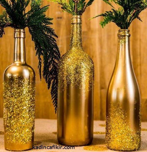 Altın gold pırıltılı simli süslemeli parlak mat cam şişe süs eşyası modeli | Kadınca Fikir
