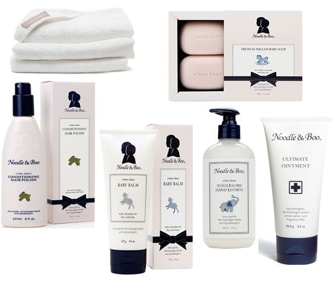 Bath Products: conditioning hair polish, baby balm, baby soap, wholesome lotion, ointmentThere are many reasons why I love Noodle & Boo so much. These products keep Capri's skin soft, hyd...