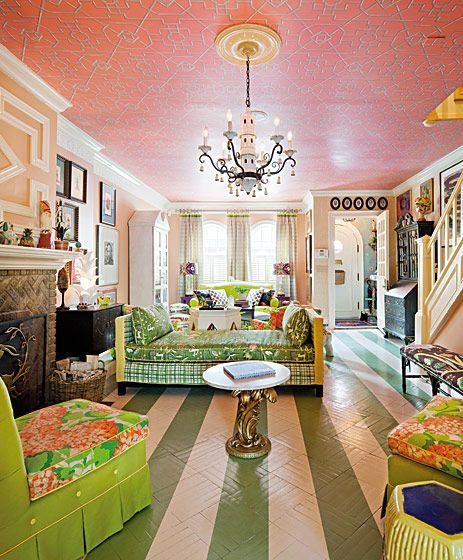 Brooklyn townhouse of John Loecke.: Interior Design, Idea, Living Rooms, Pattern, Ceiling, Color, Green, House, Painted Floors