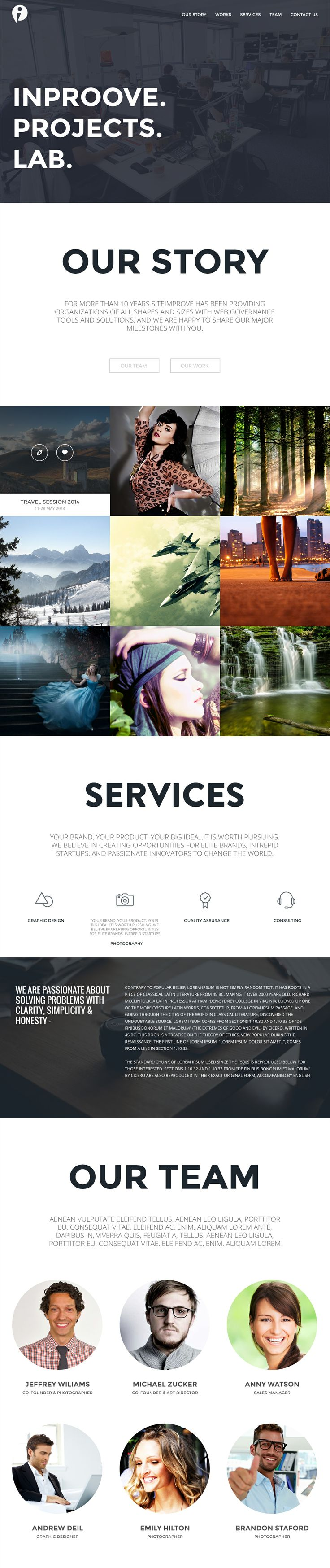 """Are landing page Photogaphy & Blog Template """"Inproove"""" www.creartlab.co"""