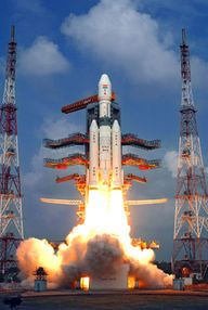 The Indian Space Research Organisation's first Geosynchronous Satellite Launch Vehicle Mark III rocket, the country's most powerful booster yet, launches on its maiden flight on Dec. 18, 2014 carrying a prototype crew capsule.