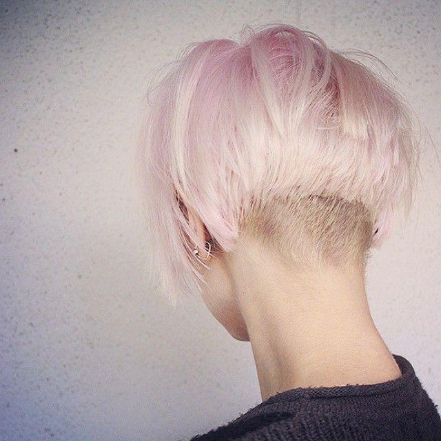 Quick cut  #short hair #undercut #pink