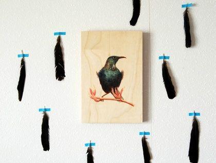 'Tui' a print on beech wood by ellaquaint