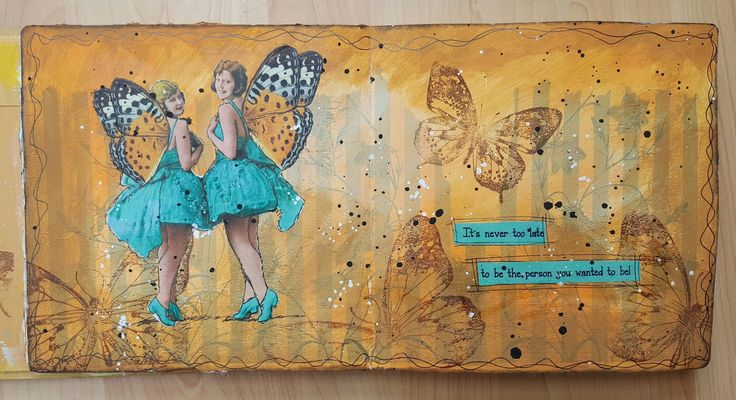 Art journal page, tissue background layered with acrylic paint, stamping and decoupage images from Mike Deakin. #artjournal #artjournalpage #journalling
