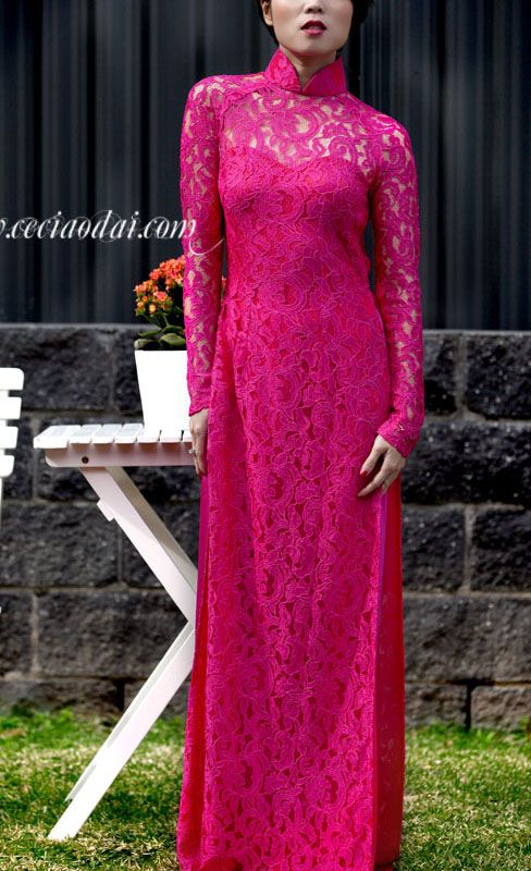 The 25 best lace ao dai ideas on pinterest vietnamese for Magenta dress for wedding