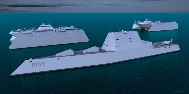 USS Zumwalt with 2 Small Trimaran Carriers. by G-Jenkins.deviantart.com on @DeviantArt