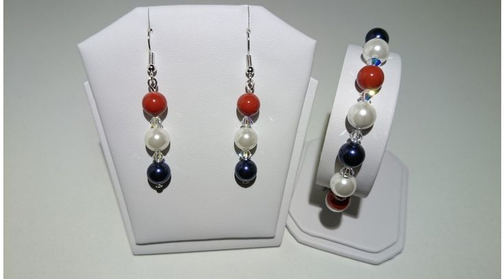 Sötétkék-Fehér-Piros Shell Pearl gyöngy szett swarovski kristállyal - Szettek - FMGyöngy - Utazás a gyöngyök világába