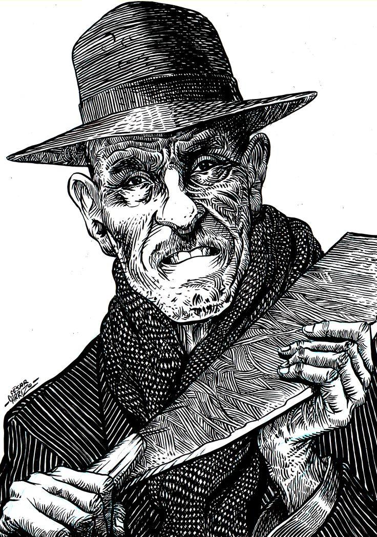 """El """"Viejo"""" Gerardo Reales Tinta china sobre papel"""