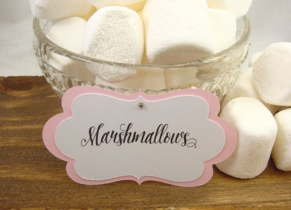 10 Light Pink Custom Candy Buffet Labels  Tags  by chocolatecanary