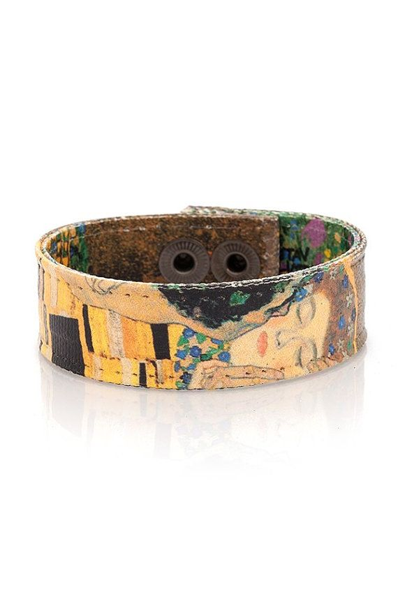 Gustav Klimt  'The Kiss' Handmade Canvas Art Bracelet, Mother's Day Gift, Women Bracelet, Womens Bracelet, Gift for Her, Women's Bracelet