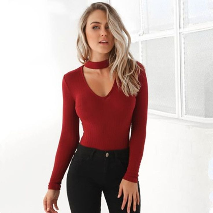 RP100 Sexy Choker High Neck Plunge V Long Sleeve Shoulder Women Autumn Spring Ribbed Bodysuits Playsuits Rompers Jumpsuits New