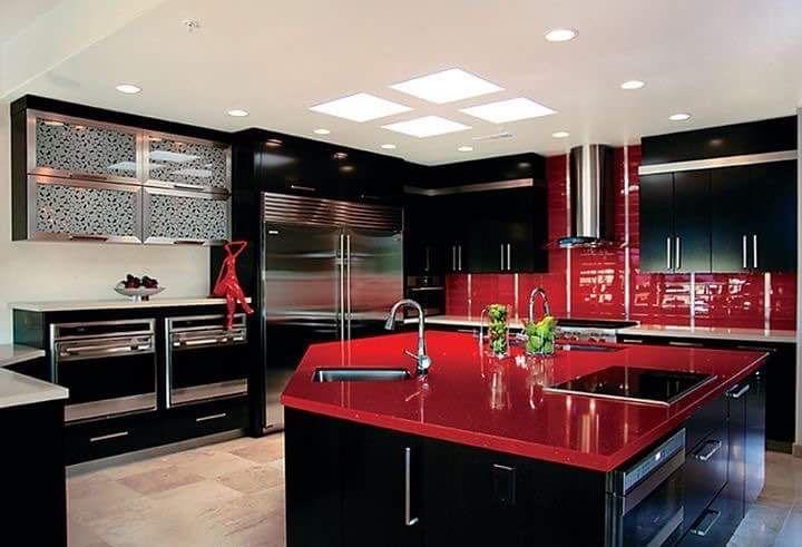 Large Modular Kitchen Design Black Kitchen Decor Red Kitchen Decor Red And White Kitchen