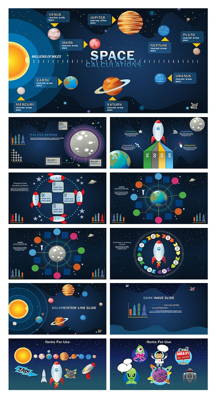 Space Calculations Template: Reach for the stars with this new template. Ensure to engage and wow your audience.  #data #infogrpahic #templates