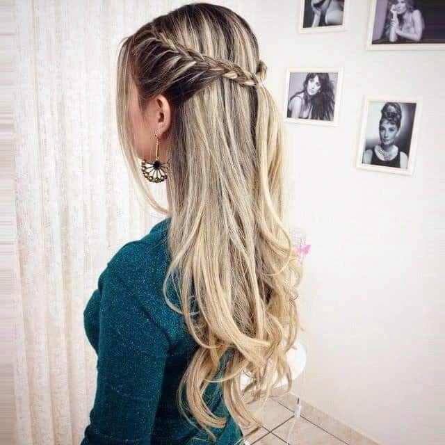 Tranza Cabello Suelto Peinados Con Trenzas Peinados Sencillos Peinados Elegantes