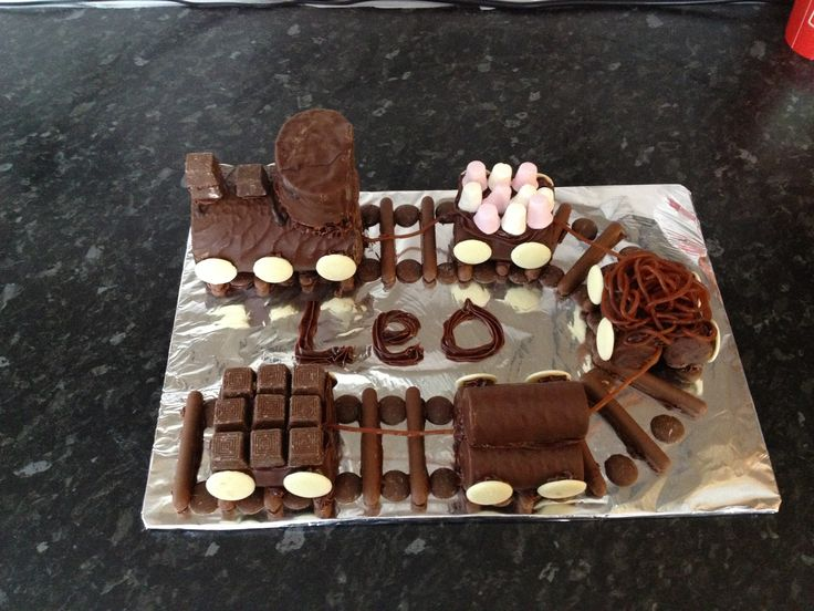"""""""Mummy I want a train cake.""""  Make a train cake that is just assembling no baking required. This is made from choc covered swiss roll, lots of mini rolls, chocolate fingers and various sweets."""