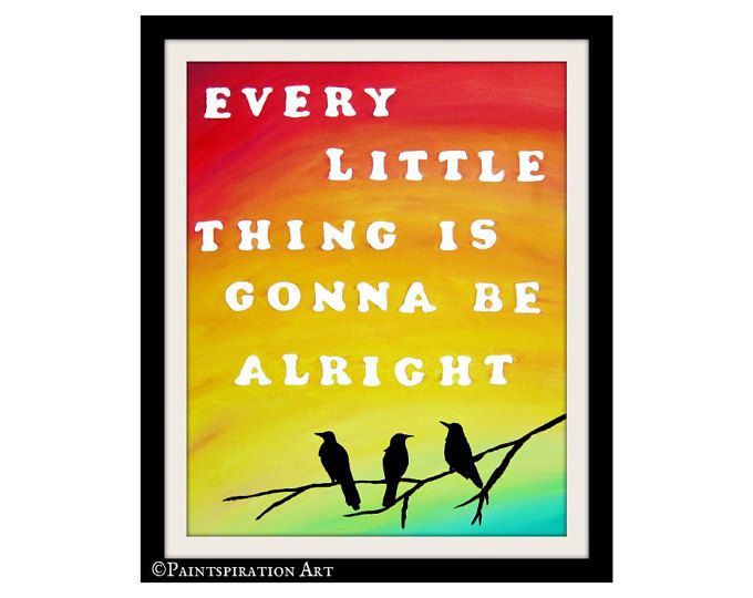 Bob Marley Wall Art Lyrics Print Song Lyrics Quote Art Print - Inspirational Saying Every Little Thing Is Gonna Be Alright Rasta Colors