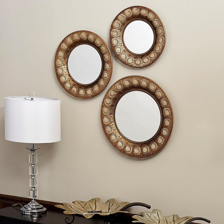 Round Gold Mirror (Set of 3)