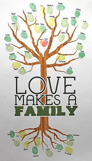 Adoption Family Tree: The road to adoption involves many people. Have those special someones leave their mark in a fingerprint tree to commemorate the happy occasion. Source: Leaves of Love