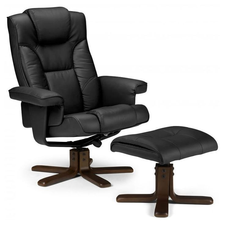 Black Swivel Recliner Armchair Footstool Faux Leather Wooden Seat Chair Office