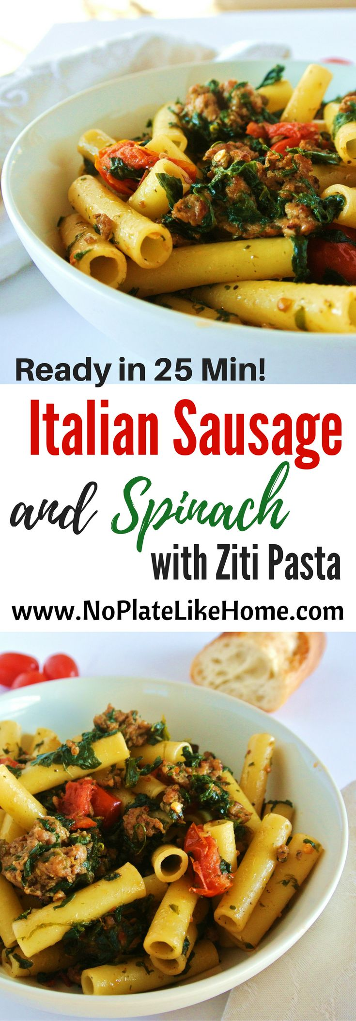 Ziti pasta mixed with ground Italian Sausage, Spinach, Grape tomatoes and Parmesan cheese is a great weeknight meal. Ready in only 25 min, your family will love this quick and tasty dinner! Pin for later.