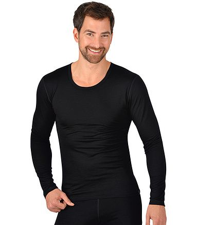 Trigema Herren Kollektion Sport-Shirt Merinowolle Schwarz